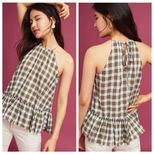 Anthropologie Cloth & Stone Gingham Halter Top
